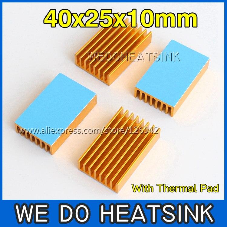 4pcs Gold 40x25x10mm Extruded Aluminum Heatsink Radiator, Cooler for Chip CPU GPU VGA RAM LED IC - WE DO HEATSINK