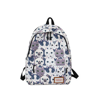 96f691eae303 15 дюймов Для женщин Школьный Рюкзак Kawaii холст рюкзак женский  Водонепроницаемый милый кот девушки ранец моды путешествия Для женщин сумка
