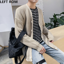 LEFT ROM brand men fashion Design long sleeve Solid color Cardigan knitting Business comfort Leisure high quality sweater coat