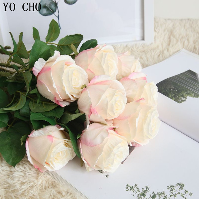 Yo Cho 2pcs Artificial Flowers Real Touch Thailand Rose Silk Flowers