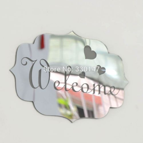 1 Stücke Gold Silber Spiegel Acryl Willkommen Zeichen Anzeigt Zeichen Wand Spiegel Aufkleber Home Art Decor Abnehmbare Hause Eingang Logo