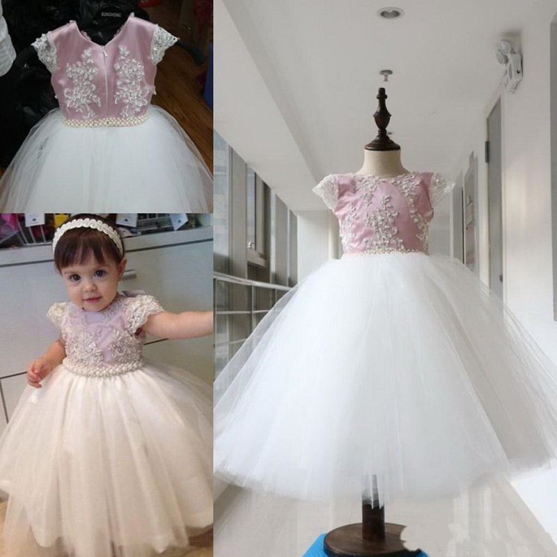 Lovely Baby Birthday Party Gowns Pearls Lace Appliques Zipper Back Cap Sleeves Customized Flower Girl Dress For Special Occasion