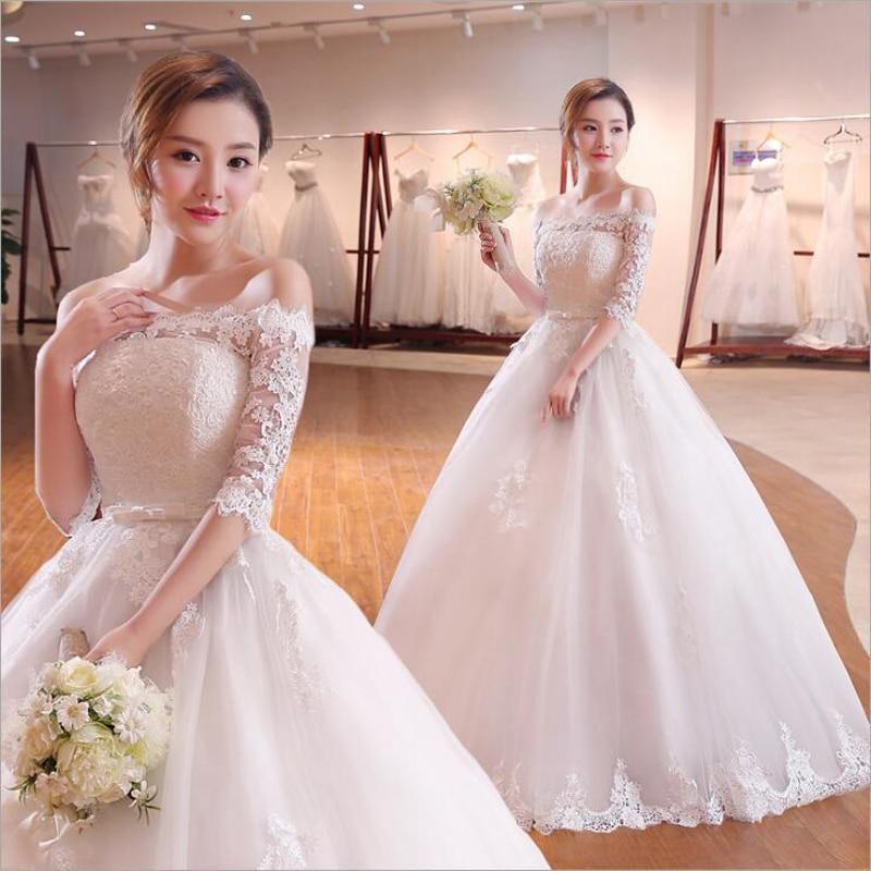 Boat Neck Princess Wedding Dress 2019 High Quality Woman Dress Lace Beading Half Sleeves Celebrity Ball Gown Vestido De Noiva