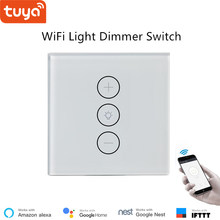 Tuya App control remoto luz LED dimmer interruptor regulador wifi atenuación panel del interruptor 110 V 220 V google casa compatible para hogar Inteligente IFTTT(China)