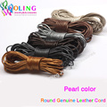 Leather Cords 2mm 5M Craft Round pearl Genuine pearls Cord/rope/Wire/string new 2016 DIY Bracelet choker necklace Jewelry making