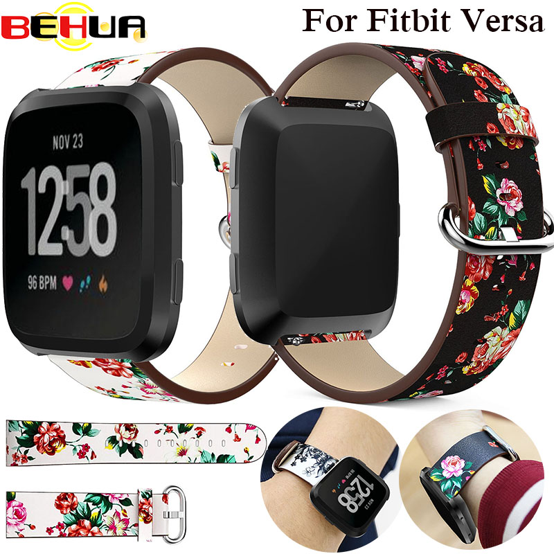 Watch Band Leather peony Print for Fitbit Versa Replacement Watch Accessories Wristbands Strap Bracelet Flower Strap Correa Relo fitbit watch