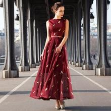 2016 S- XXXL Vintage Embroidery Women Maxi Dress O-neck Sleeveless Box Pleat Summer Party Long Dresses Plus Size Robe Femme