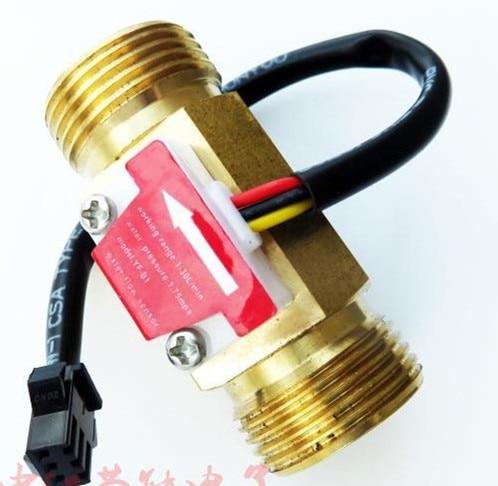 2pcs G3/4 Male Thread Brass Hall Effect Water Flow Sensor Flowmeter 1-30L/min 60mm long