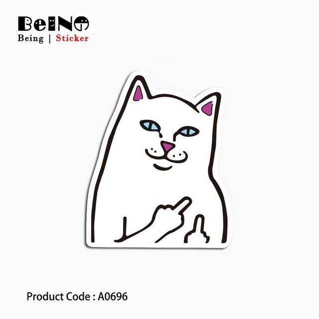 אמצע אצבע חתול מדבקת קר פוקר פנים עמיד למים מזוודת מדבקת סקייטבורד מחברת גיטרה ילד צעצוע A0696 מדבקות QY31