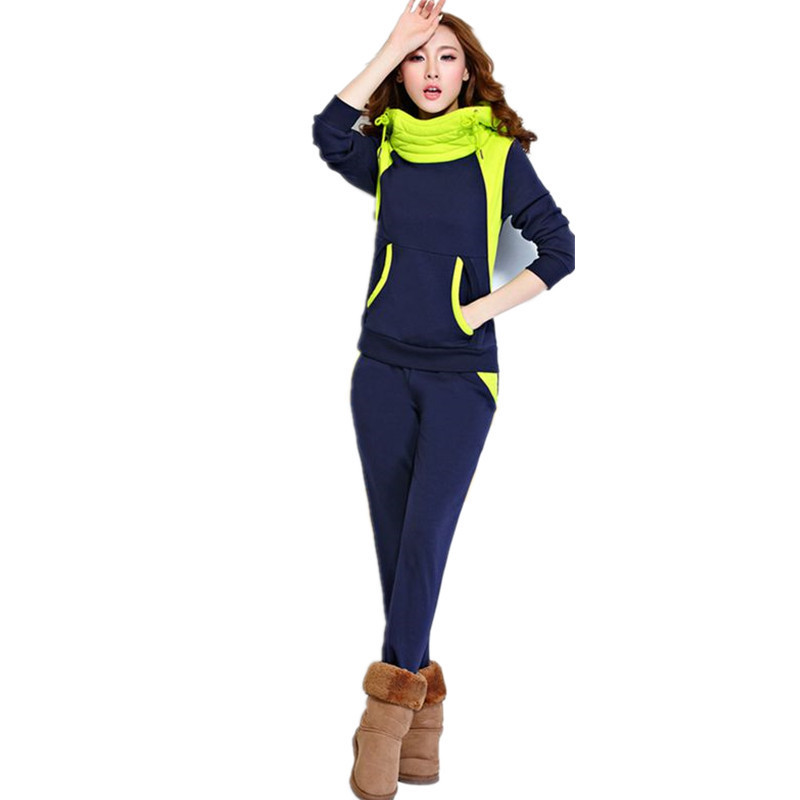 women tracksuit sportswear female winter velvet warm suit sweatshirt hoodied pants casual sports running jog workout set 2PCS in Running Sets from Sports Entertainment