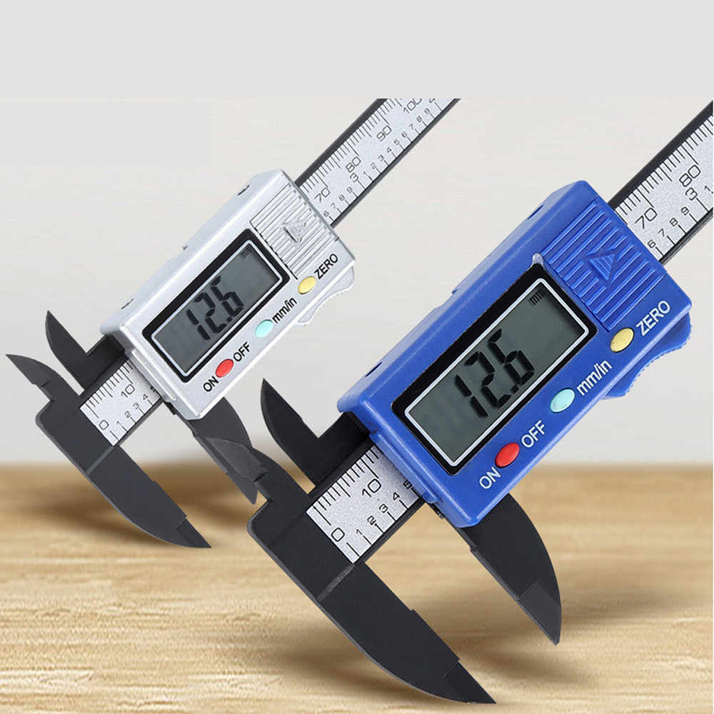 0mm-100mm Digital Electronic Carbon Fiber Vernier Caliper Gauge Micrometer Hand Tools Woodworking Tools 25x 8 x 1.5cm#es0204