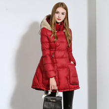 2016 winter new arrival fashion with a hood down coat medium-long female high waist women's plus size