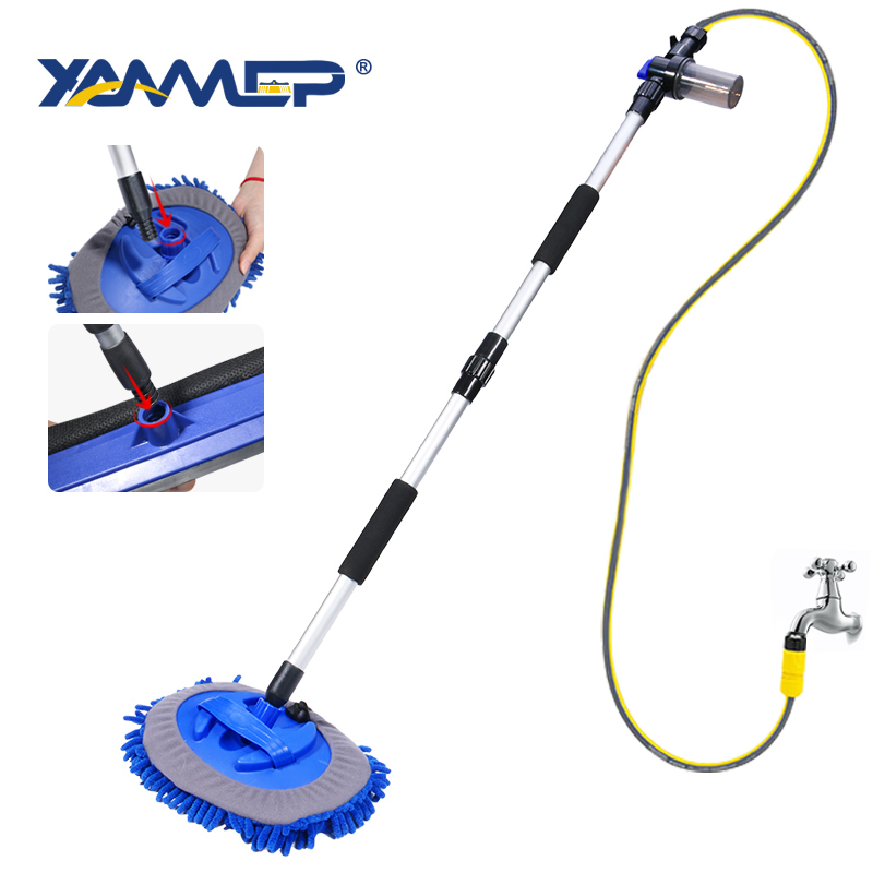 Car Wash Brush Chenille Mop Cleaning Windows Car Cleaning Tools Foam Bottle Car Accessories Cleaning Wheel Long Handle Xammep