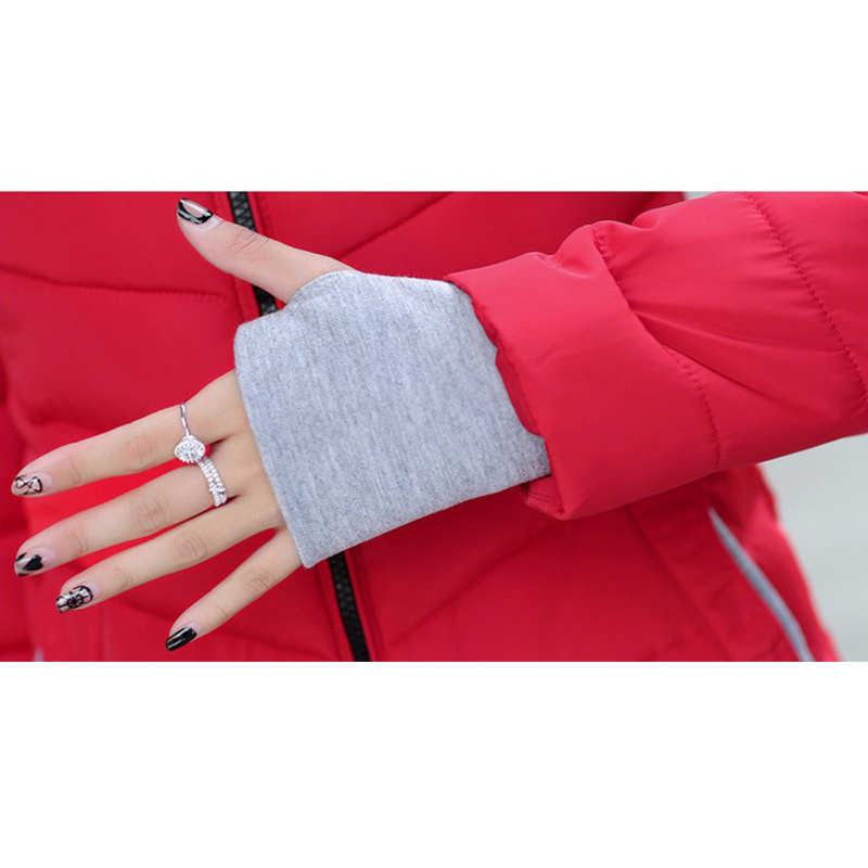 2019 Hooded Women vinterjacka kort bomull vadderad damjacka höst - Damkläder - Foto 6