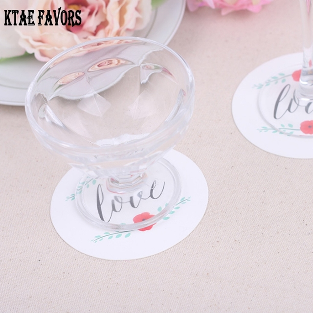 12Pcs LOVE Round Paper Coaster Wedding Favors Gifts Cup Coasters Coffee Mug Party Decoration