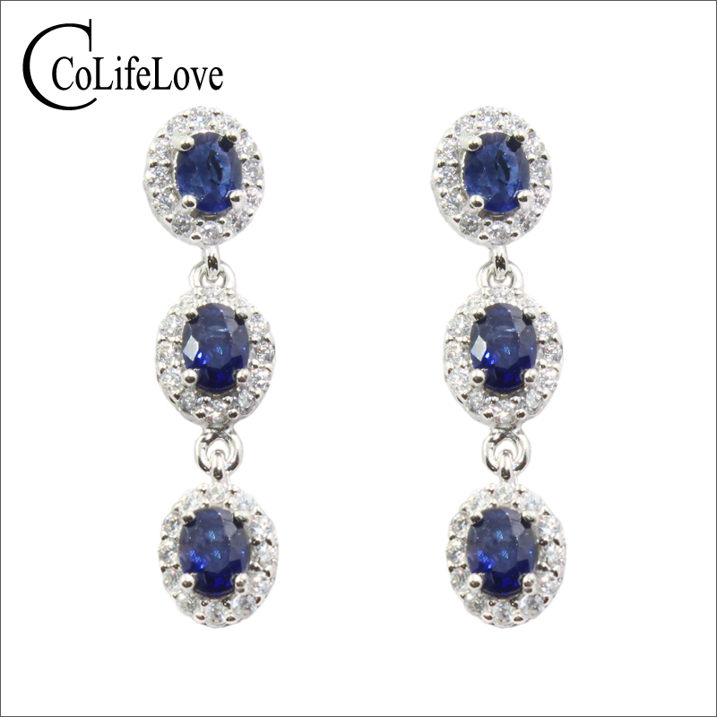 100 natural sapphire earrings for party 6 pieces dark blue sapphire drop earrings solid 925 silver