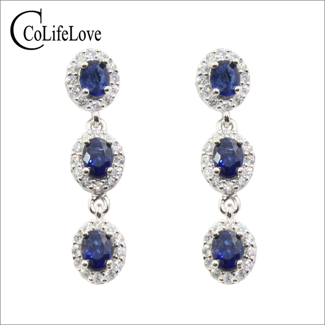 100 Natural Shire Earrings For Party 6 Pieces Dark Blue Drop Solid 925