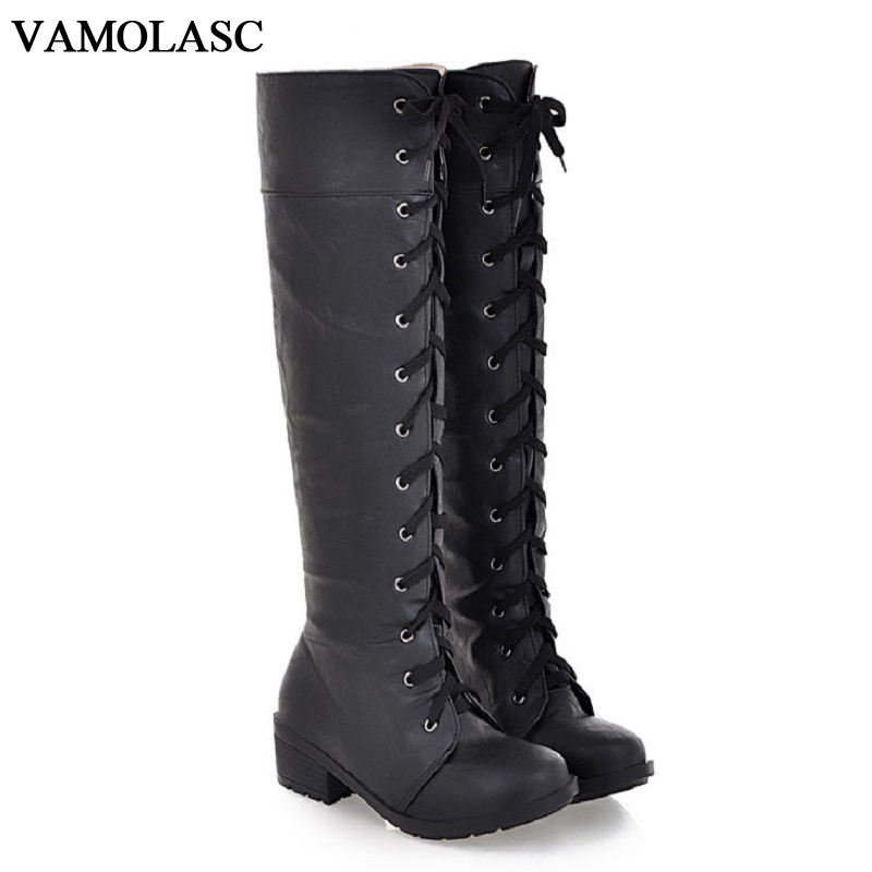 VAMOLASC New font b Women b font Autumn Winter Warm Leather Knee High Boots Lace Up