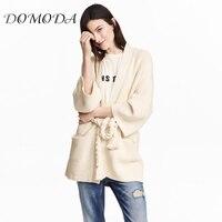DOMODA Women Beige Sweater Solid Cardigans Elegant Casual Belte Loose Female Pocket Stocking stitch Pullovers Lady