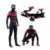 Adult Men Kids Spider Man Into the Spider Verse Miles Morales Cosplay Costume Zentai Spiderman Pattern Bodysuit Suit Jumpsuits
