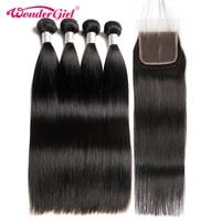 Brazilian Straight Hair 3 Bundles With Closure 4 Pcs Lot 100 Human Hair Bundles With Closure