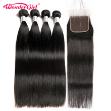 Brazilian Straight Hair 3 Bundles With Closure 4 Pcs/Lot 100% Human Hair Bundles With Closure Wonder girl Remy Hair Extension