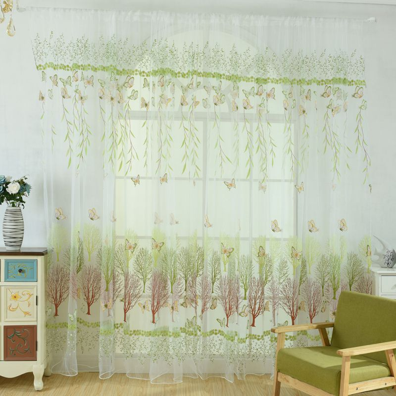 100cm x 270cm Butterfly Print Sheer Window Panel Curtains Room Divider New style For Living Room Bedroom Decoration