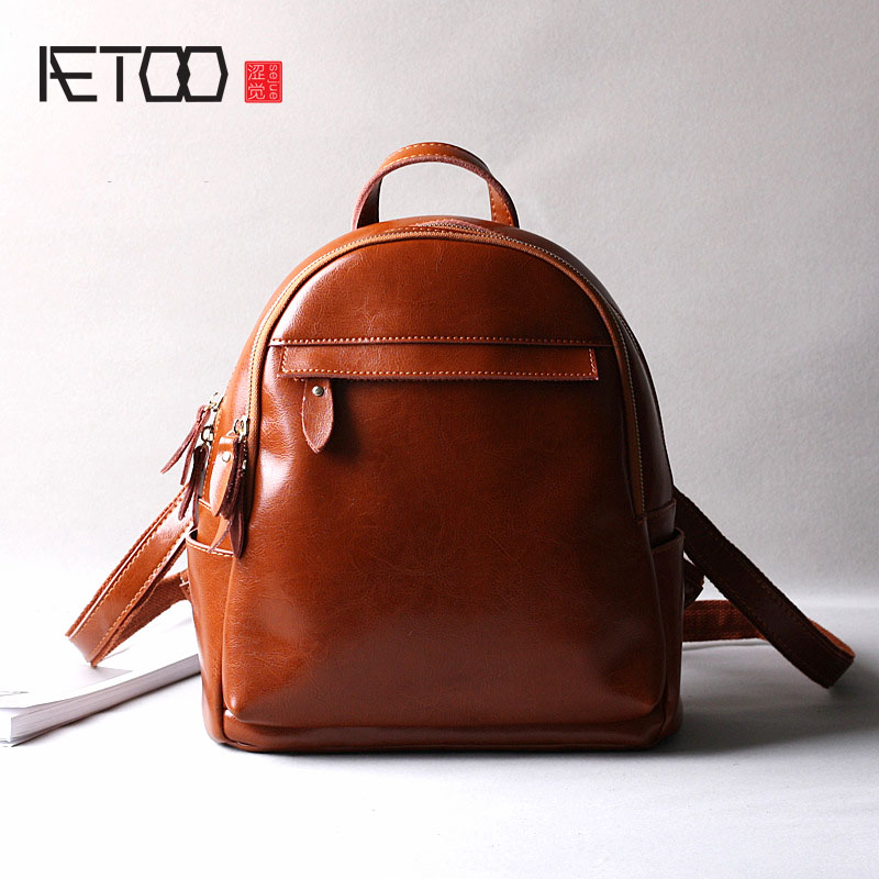 AETOO Retro oil wax leather bag vintage brown split leather backpack travel backpacks women брюки french connection french connection fr003ewhuq18