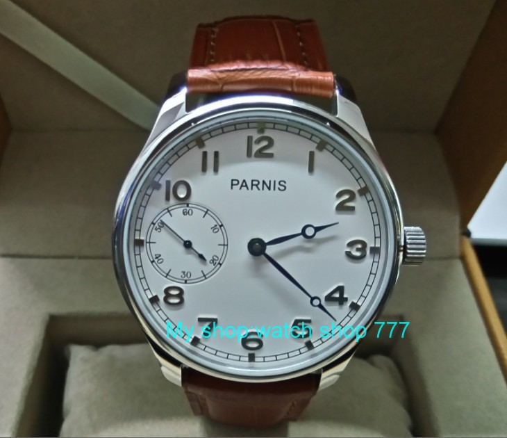 44mm PARNIS white dial blue hands 17 jewels ST3600 Mechanical Hand Wind movement Mechanical Wristwatches Men