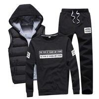 3 In 1 Hoody Sweatshirt Men Pants Vest 3 Piece Warm Fleece Brand Hoodie For Men