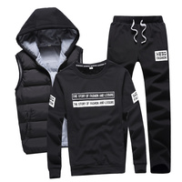 3 In 1 Hoody Sweatshirt Men Pants Vest 3 Piece Warm Fleece Brand Hoodie For Men