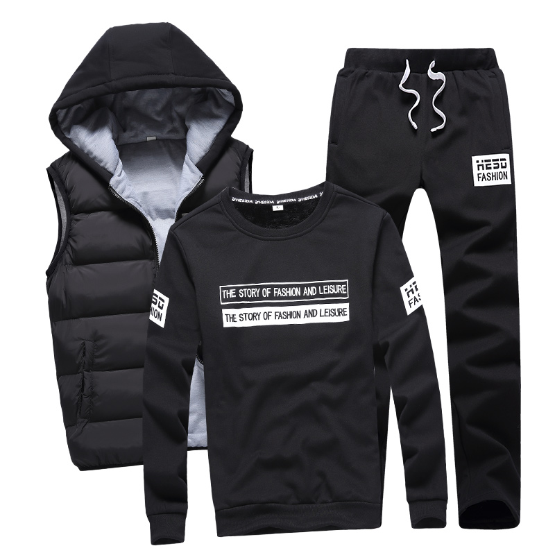 3 in 1 Hoody Sweatshirt Men Pants Vest 3 Piece Warm Fleece Brand Hoodie For Men Set Coat Jogger Sports Suit Hooded Pullover Male