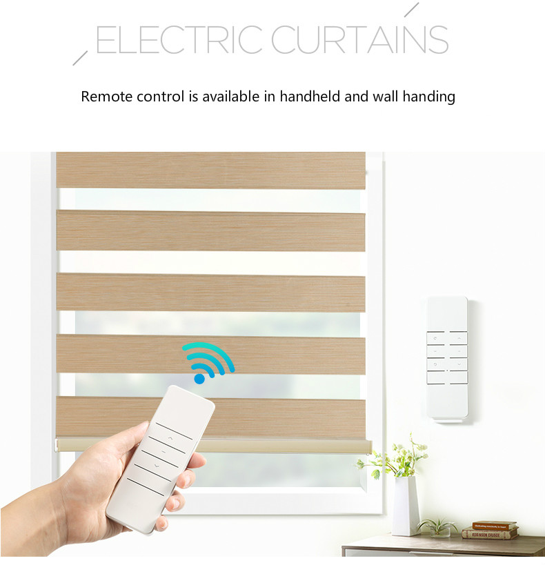 Free Shipping Window Blinds Remote Control Automatic Electric Zebra Blinds Curtain Roller Blinds Fabric Ceiling Installation