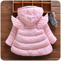 Girl coat winter solid pink red colour children winter jackets for girls cotton-padded with wings thick warm kids outwear jacket