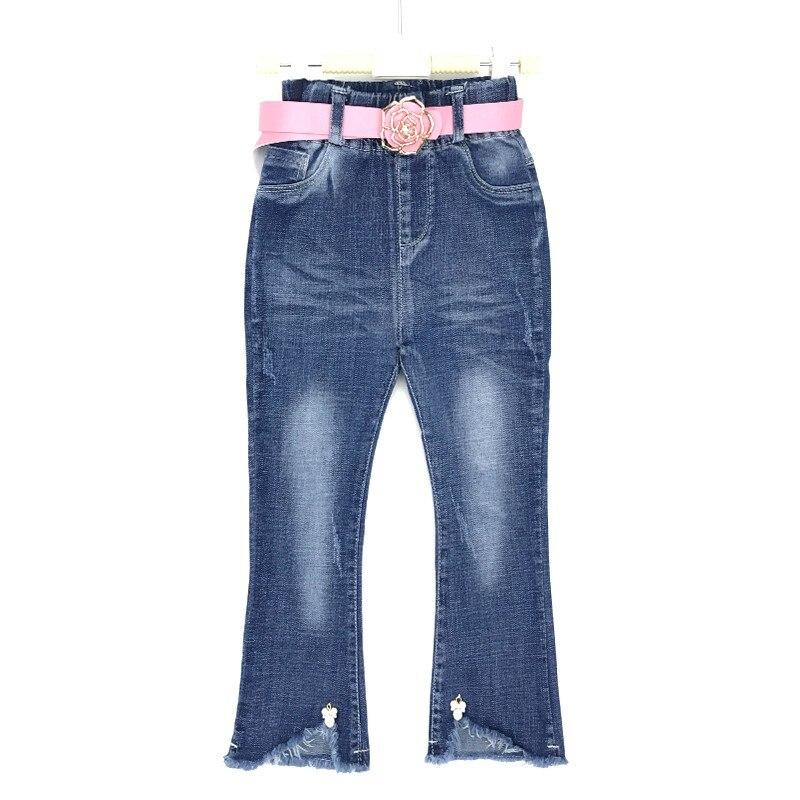 280de4c542b 2018 New Design Kids Cute Denim Jeans Girls Boot Cut Pants With Pink Belt Toddler  Girls