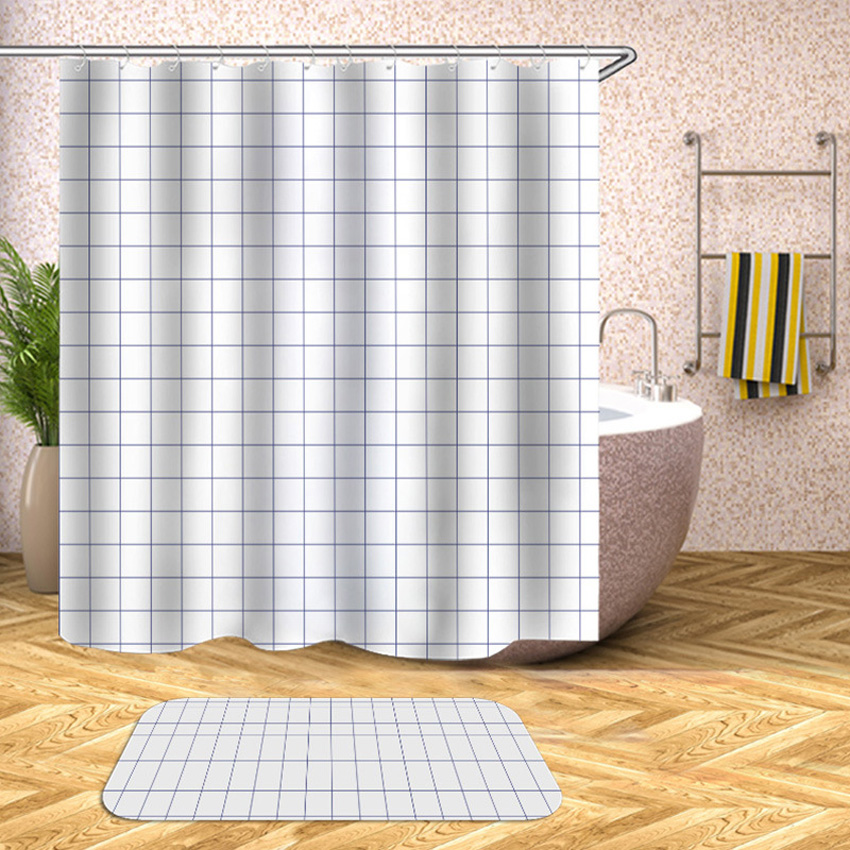 Geometric Shower Curtain Striped Plaid Cross Waterproof Bath Curtains For Bathroom Bathtub Bathing Cover Large Wide 12pcs Hooks