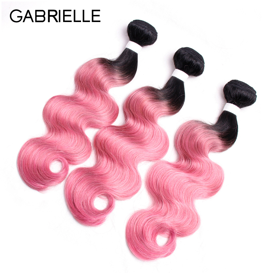 Gabrielle Ombre Hair Two Tone Indian Body Wave Human Hair 3 Bundles OT Rose Pink Non-remy Hair Weaves 10-18 Free Shipping