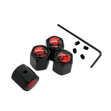 4Pcs/Set Black Color Anti-theft Valve Caps Red Skull Logo For Peugeot Citron VW Audi BMW Benz Mazda Car Styling