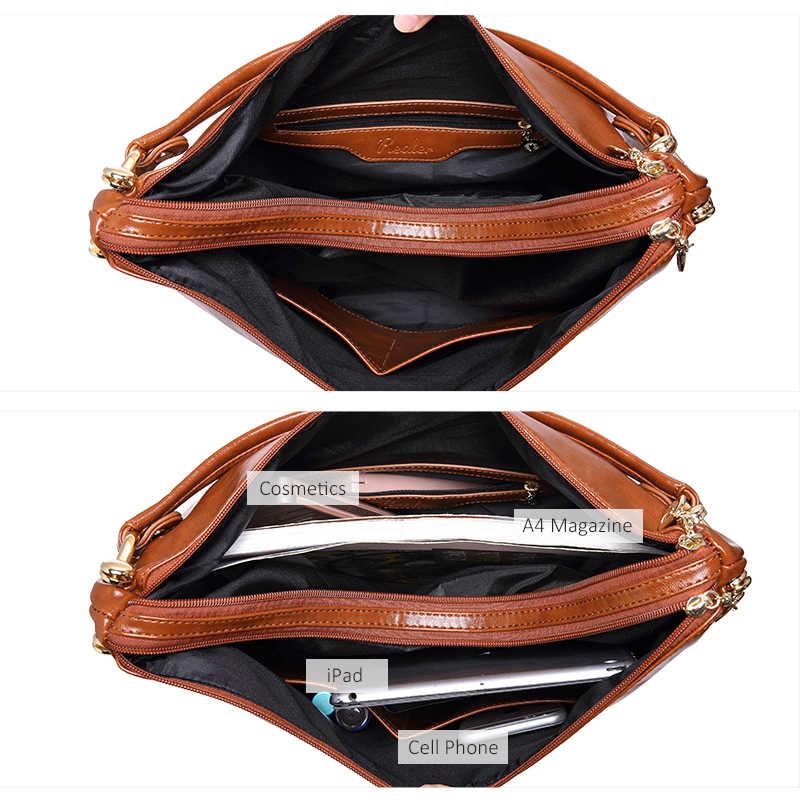 Realer Mewah Wanita Tas Tangan Kualitas Tinggi Wanita Tas Bahu PU Kulit Wanita Besar Totes Hobo Zipper Fashion Top-Handle tas