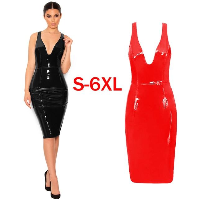 fd621add2c84 Plus Size Dress Sexy Deep V Neck Sleeveless Bandage Dresses Black PVC High  Waist Women Sexy Club Wear Slim Bodycon Midi Dress