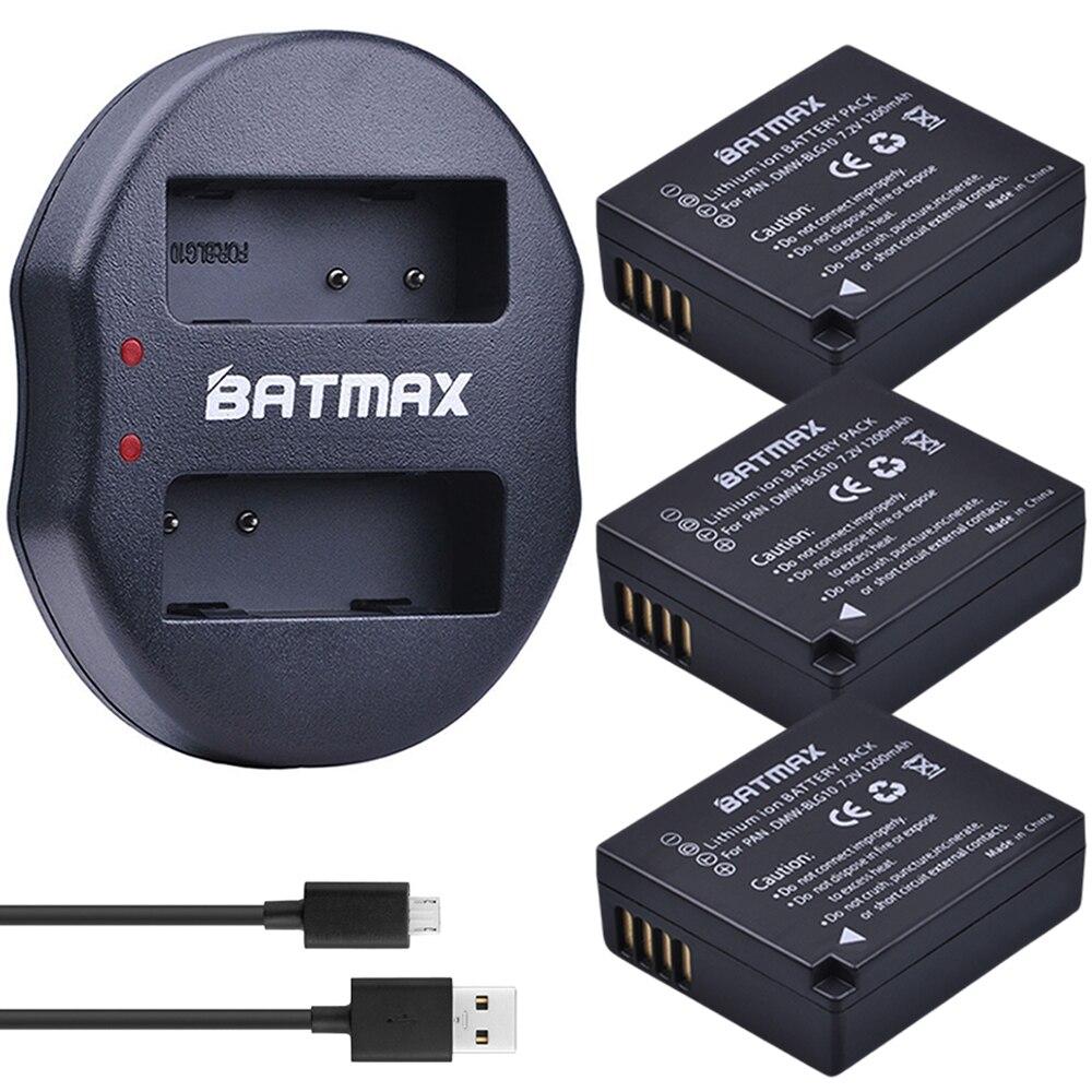 4pcs DMW-BLG10 DMW BLE9 Batteries + Dual Charger with USB Cable for Panasonic DMC GF6 GX7 GF3 GF5 DMW-BLG10GK LX100 GX80 GX85
