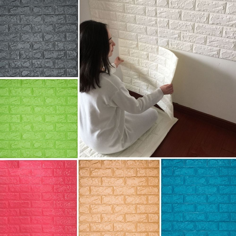 Wall tile buy cheap stone wall tile lots from china stone wall tile - Yazi 3d Tile Wallpaper Black Stone Brick Wall Sticker Panel Thick Soft Pe Foam Home Wall