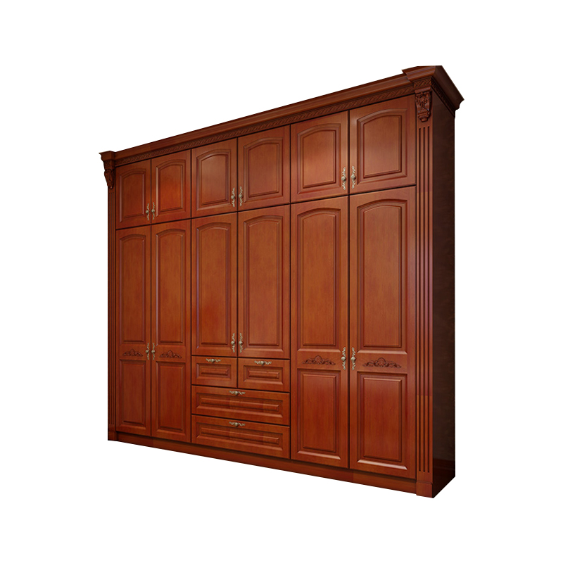 Luxury design bedroom furniture cherry solid wood wardrobe with door