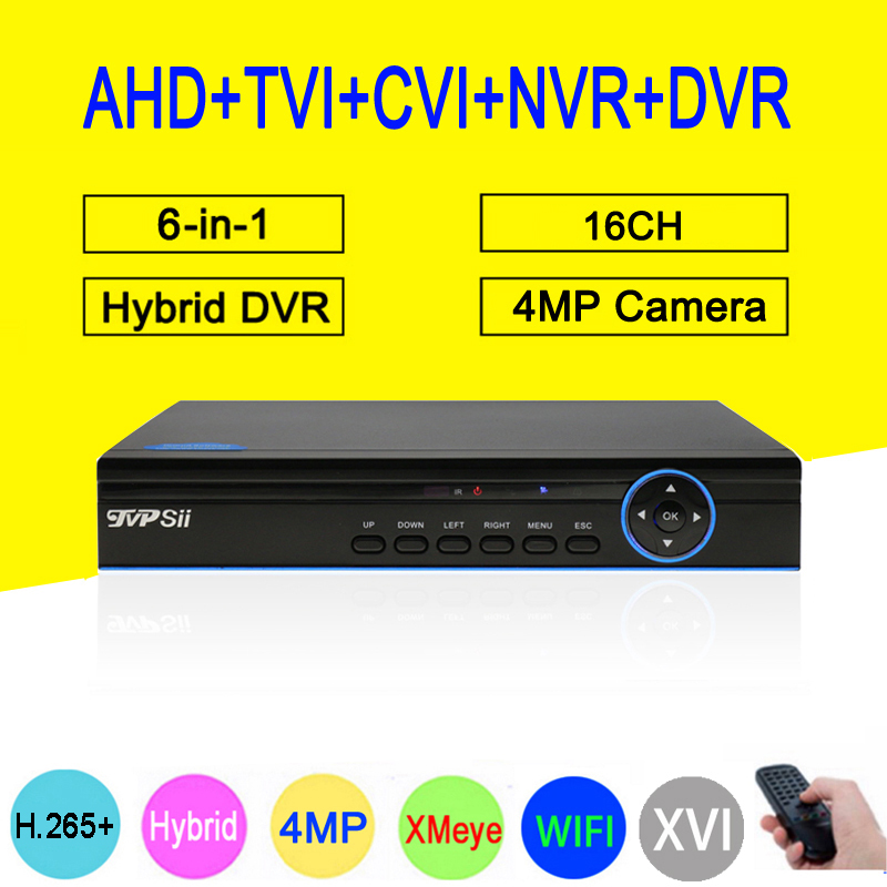Blue Panel Hi3531D 5MP 4MP 16CH H 265 6 in 1 WIFI Hybrid TVi CVI NVR