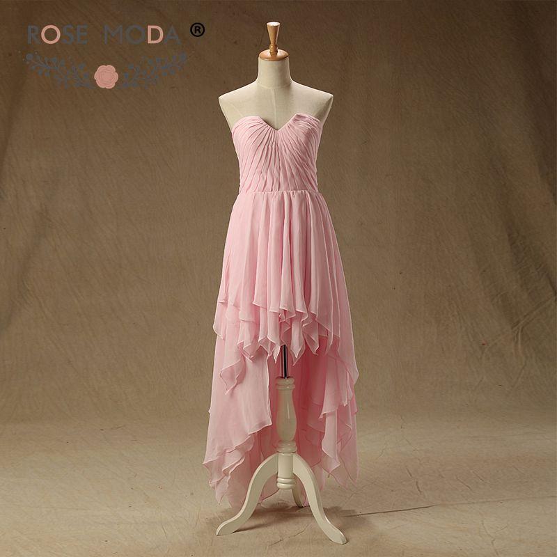 Rose Moda V Cut Neck Pink Chiffon   Bridesmaid     Dress   wth High Low Skirt Summer   Dress   Hi Lo   Bridesmaid     Dresses