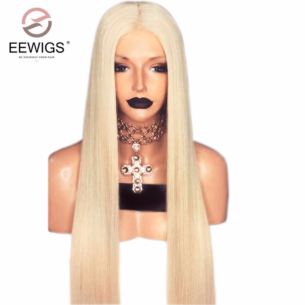 30 inches Platinum Blonde Silky Straight and Life-Like Lace Front Wig Costume Women's Long Synthetic Full Hair Wig for Women