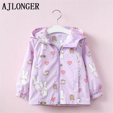 AJLONGER Baby Girls Jackets Hooded Windproof Kids Clothing Cartoon Pattern Coats Spring Children Outerwear &