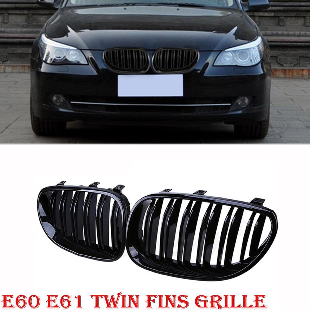 Front Gloss Black Kidney Twin Fins Bumper Grilles For BMW E60 E61 M5 5 Series Touring 520d/520i/523i 2003-2010