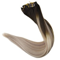 Full Shine 10 Pcs Clip In Hair Extensions Human Hair Balayage Color #2/18/60 Blonde Remy Hair Clip in Double Weft Extensions