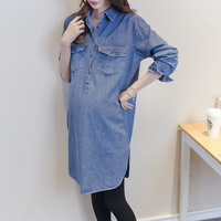 Maternity Women Dress Long Sleeve Denim Shirts Pregnancy Clothes For Pregnant Women Tops Loosen Casual Maternity Clothing Autumn